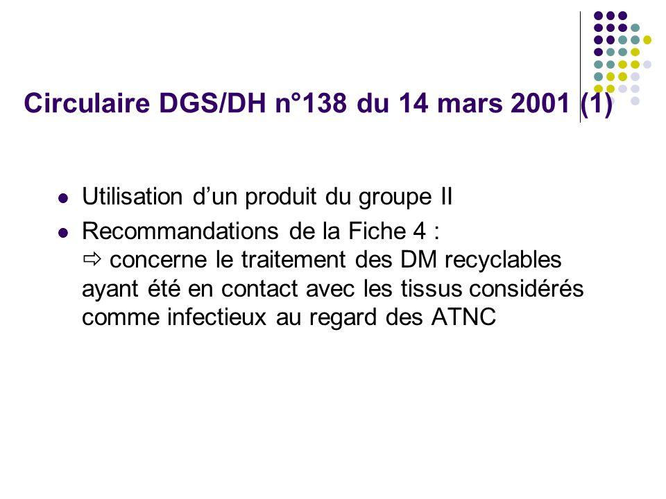 Circulaire DGS/DH n°138 du 14 mars 2001 (1)
