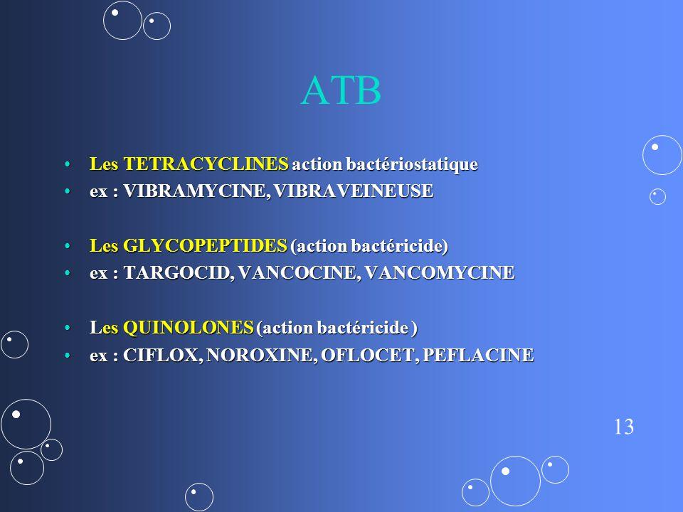 ATB Les TETRACYCLINES action bactériostatique