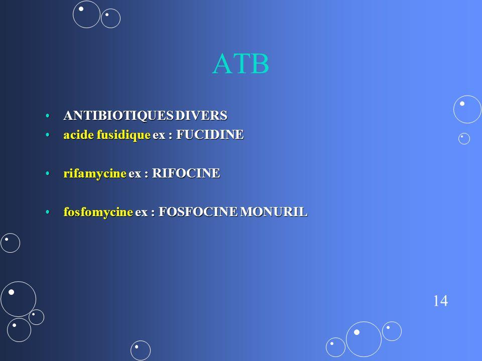 ATB ANTIBIOTIQUES DIVERS acide fusidique ex : FUCIDINE
