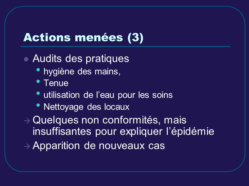 Actions menées (3) Audits des pratiques