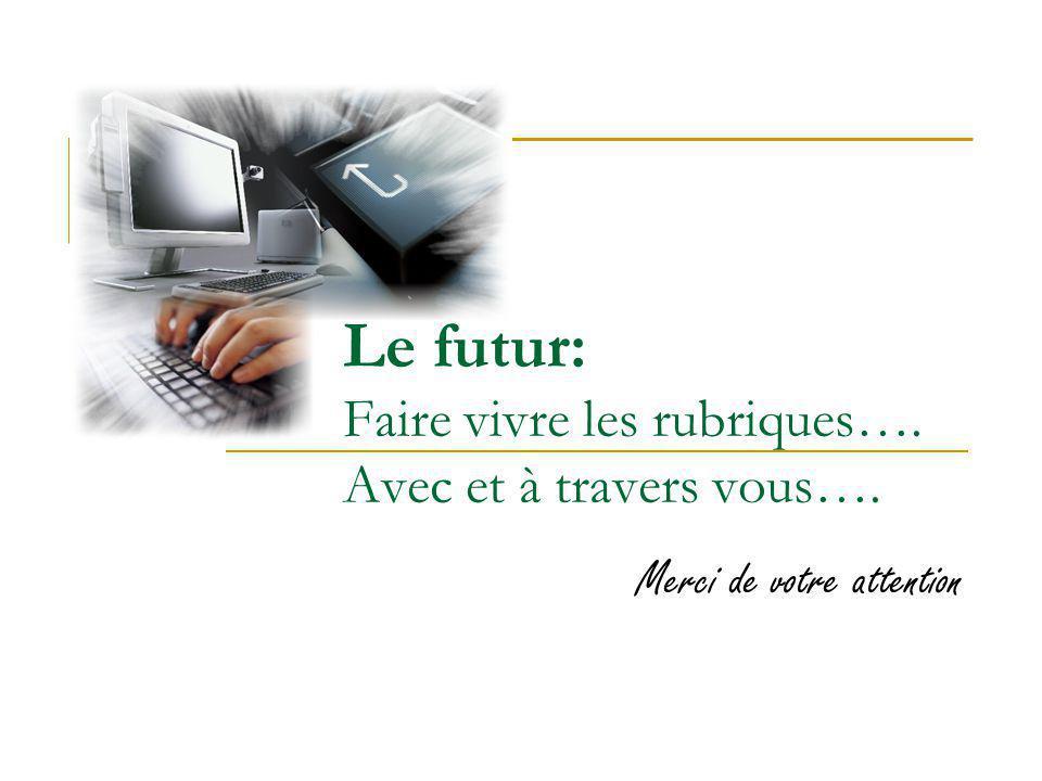 Le futur: Faire vivre les rubriques…. Avec et à travers vous….
