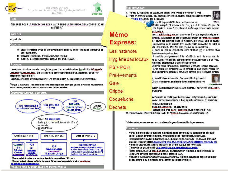 Mémo Express: Les instances Hygiène des locaux PS + PCH Prélèvements