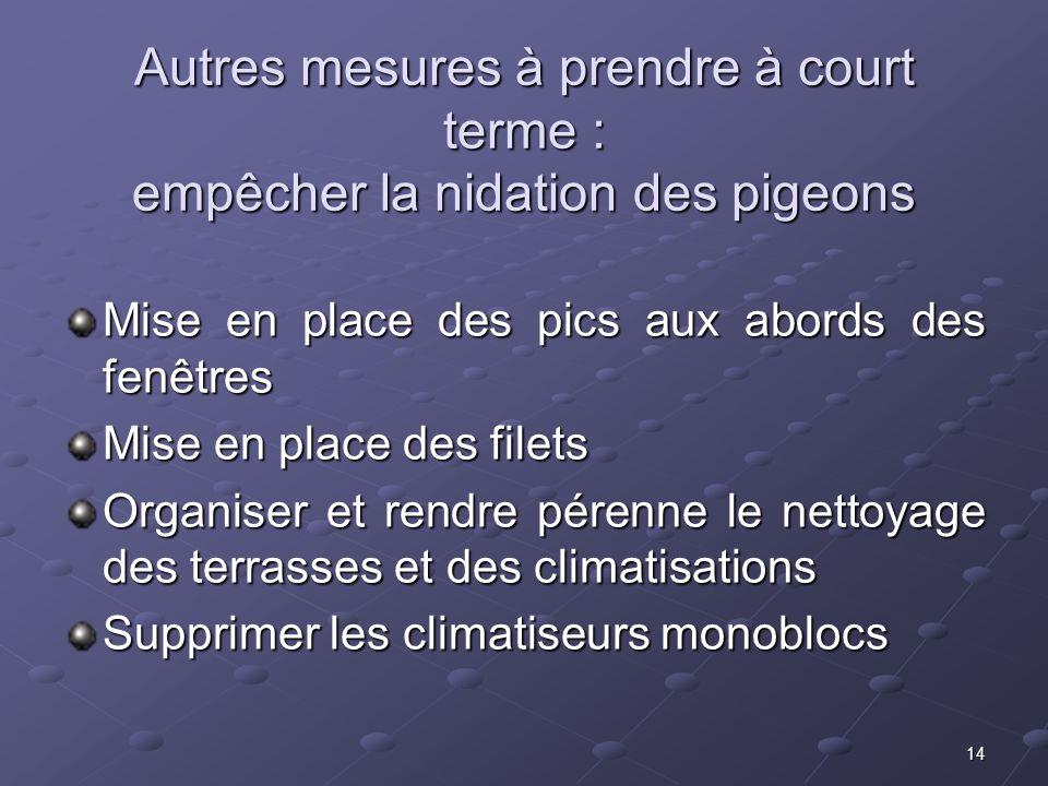 Autres mesures à prendre à court terme : empêcher la nidation des pigeons