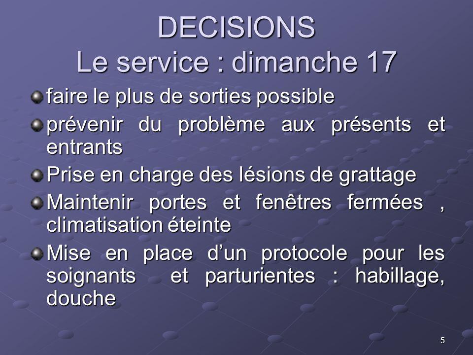 DECISIONS Le service : dimanche 17