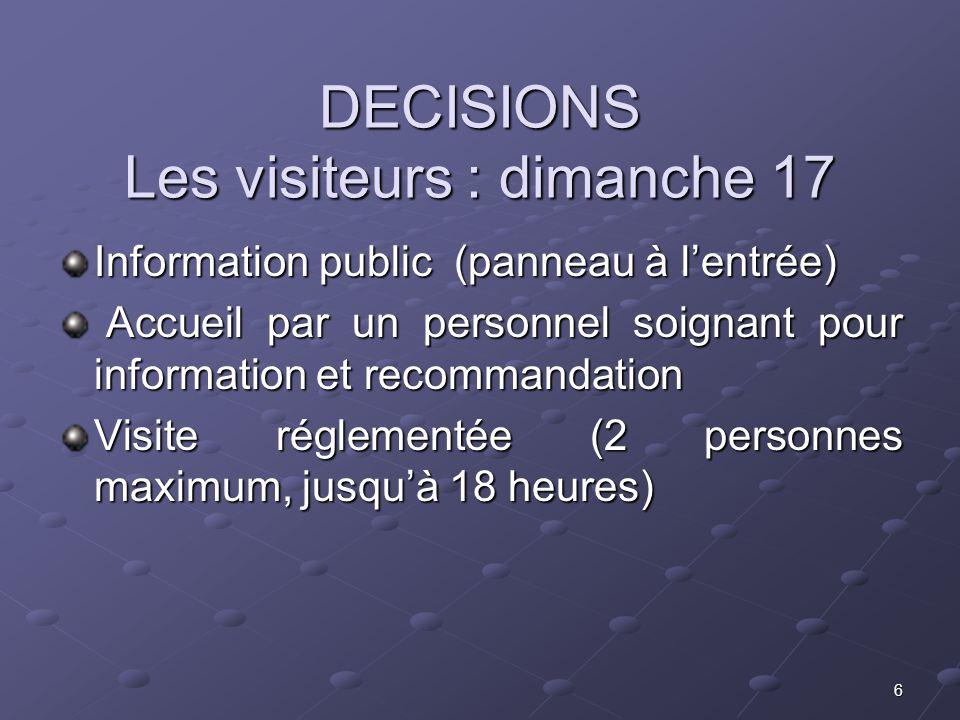 DECISIONS Les visiteurs : dimanche 17