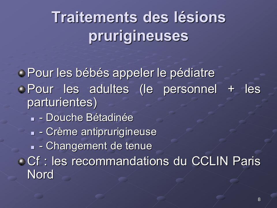 Traitements des lésions prurigineuses