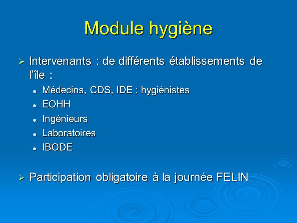 Module hygiène Intervenants : de différents établissements de l'île :