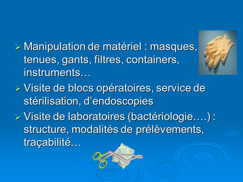 Manipulation de matériel : masques, tenues, gants, filtres, containers, instruments…