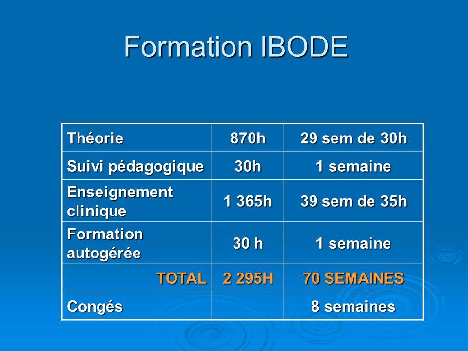Formation IBODE Théorie 870h 29 sem de 30h Suivi pédagogique 30h