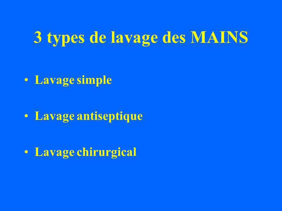 3 types de lavage des MAINS