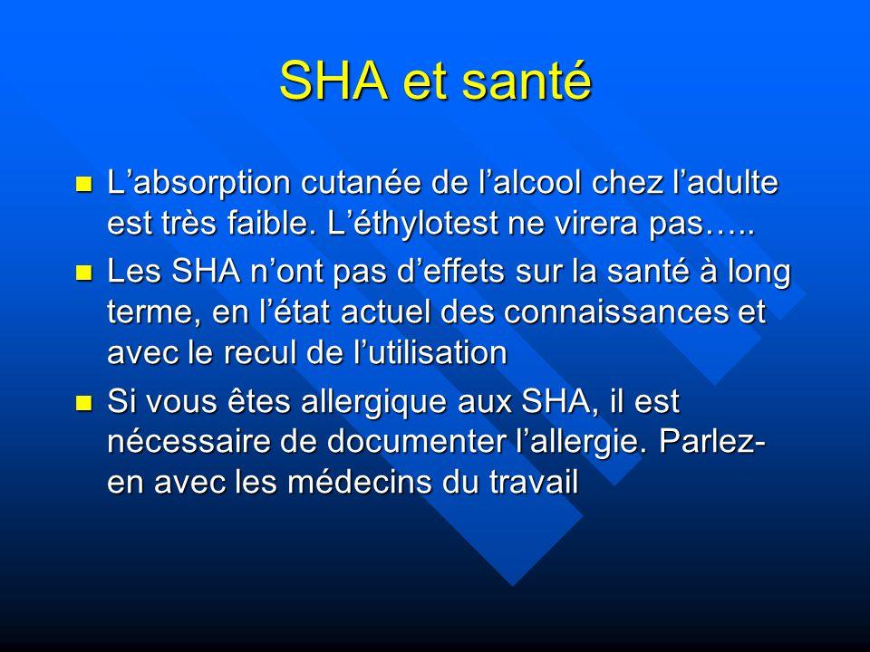 SHA et santé L'absorption cutanée de l'alcool chez l'adulte est très faible. L'éthylotest ne virera pas…..