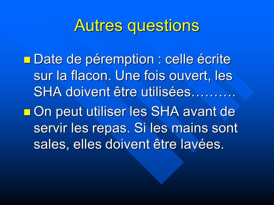 Autres questions Date de péremption : celle écrite sur la flacon. Une fois ouvert, les SHA doivent être utilisées……….