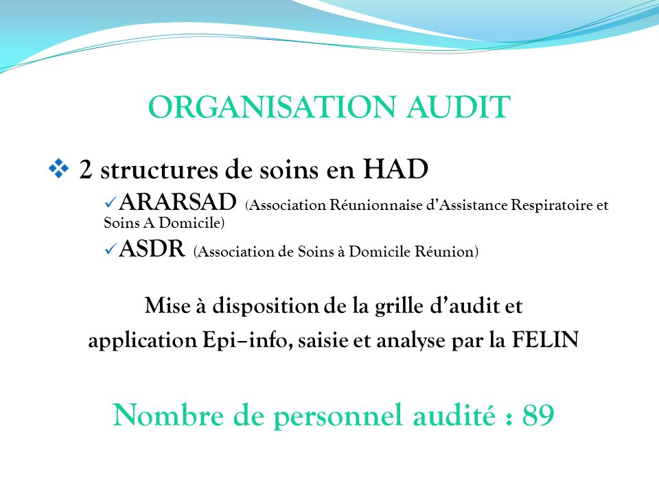 ORGANISATION AUDIT Nombre de personnel audité : 89