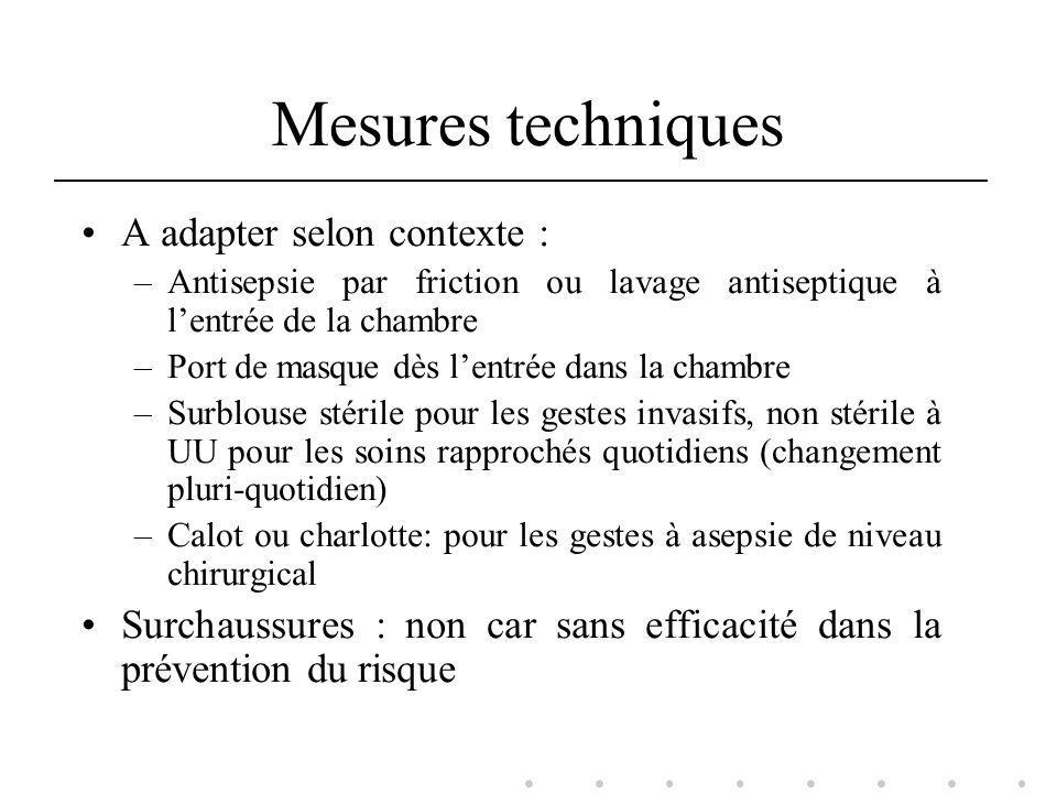 Mesures techniques A adapter selon contexte :