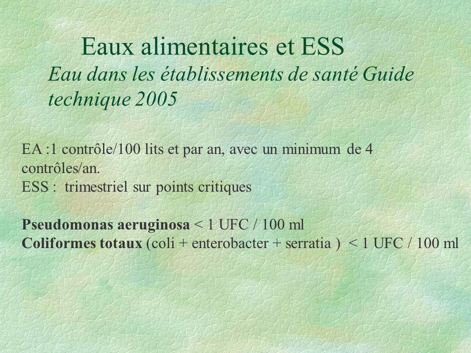 Eaux alimentaires et ESS Eau dans les établissements de santé Guide technique 2005