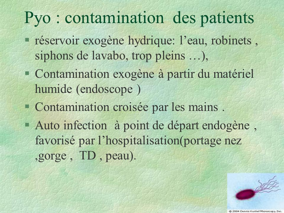 Pyo : contamination des patients