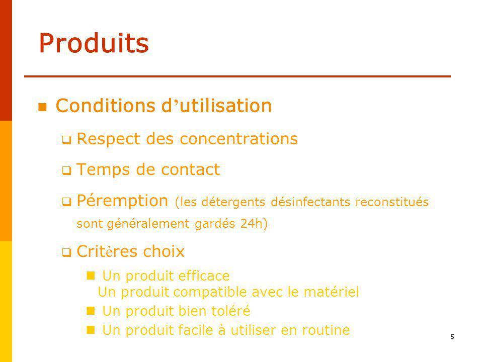 Produits Conditions d'utilisation Respect des concentrations
