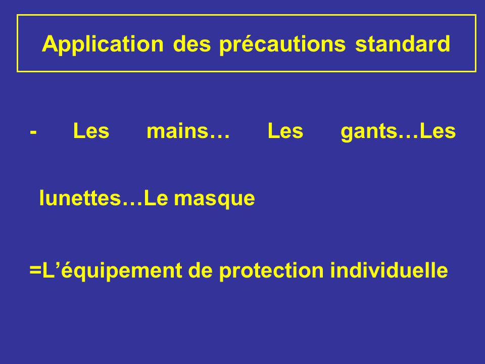 Application des précautions standard