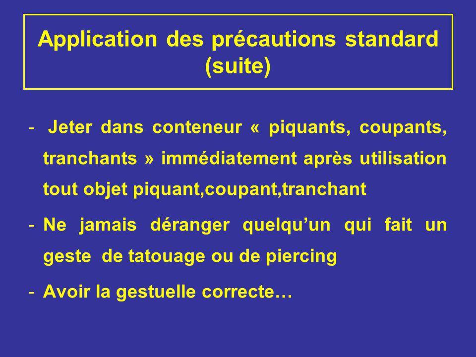 Application des précautions standard (suite)