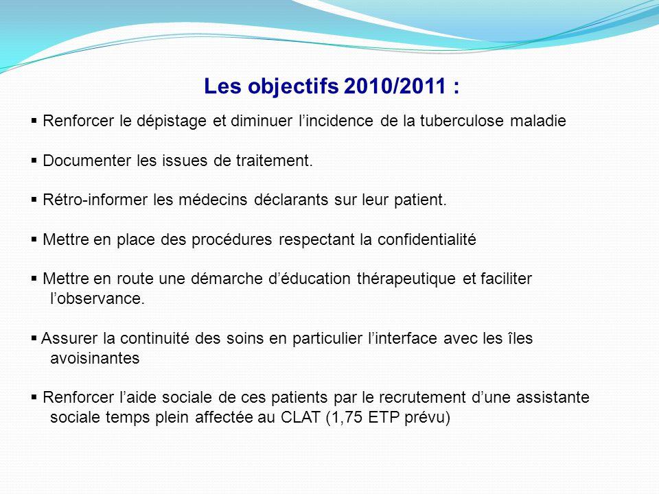 Les objectifs 2010/2011 : Renforcer le dépistage et diminuer l'incidence de la tuberculose maladie.