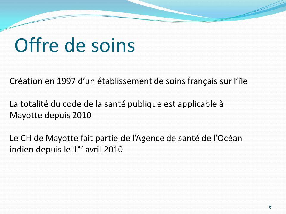 Offre de soins Création en 1997 d'un établissement de soins français sur l'île.