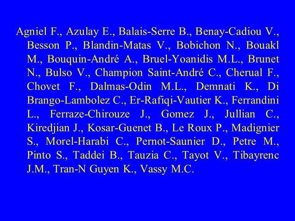 Agniel F. , Azulay E. , Balais-Serre B. , Benay-Cadiou V. , Besson P