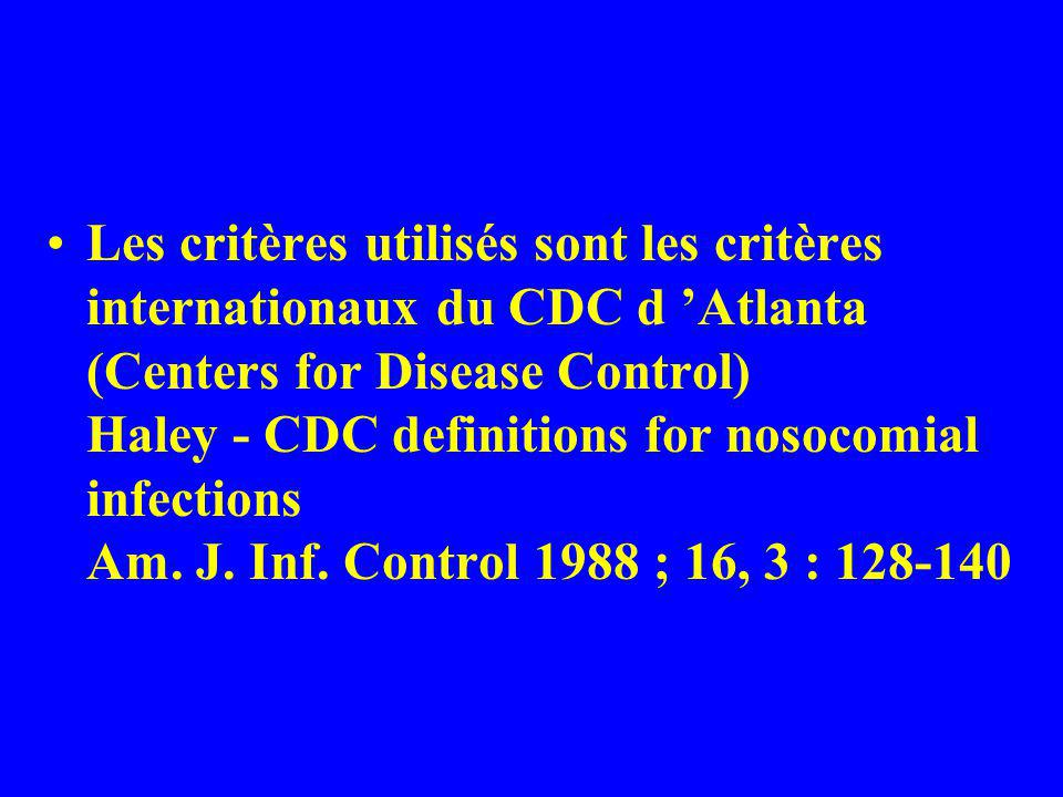 Les critères utilisés sont les critères internationaux du CDC d 'Atlanta (Centers for Disease Control) Haley - CDC definitions for nosocomial infections Am.