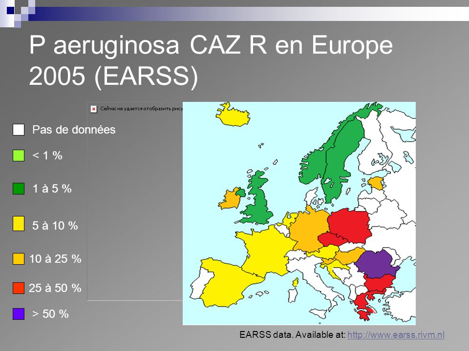 P aeruginosa CAZ R en Europe 2005 (EARSS)