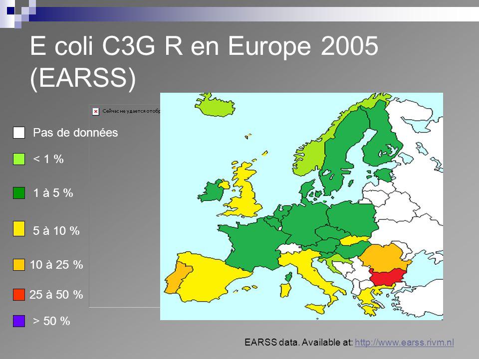 E coli C3G R en Europe 2005 (EARSS)