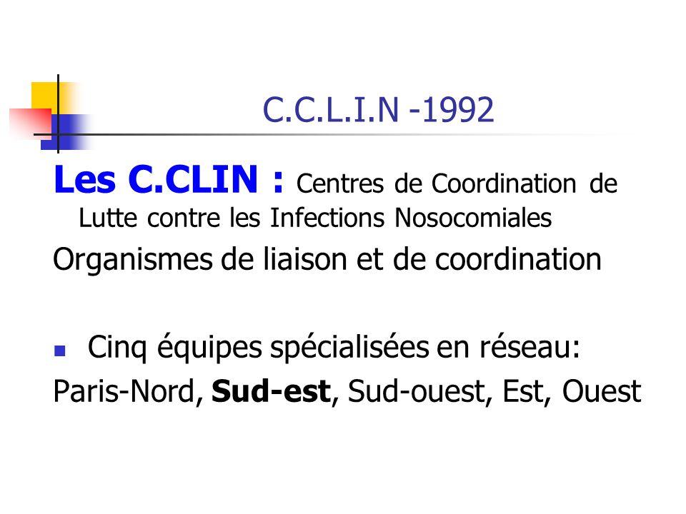 C.C.L.I.N -1992 Les C.CLIN : Centres de Coordination de Lutte contre les Infections Nosocomiales. Organismes de liaison et de coordination.