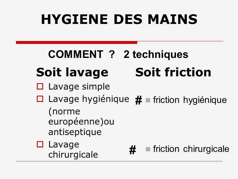 HYGIENE DES MAINS # # Soit lavage Soit friction COMMENT 2 techniques