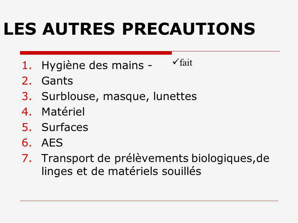 LES AUTRES PRECAUTIONS