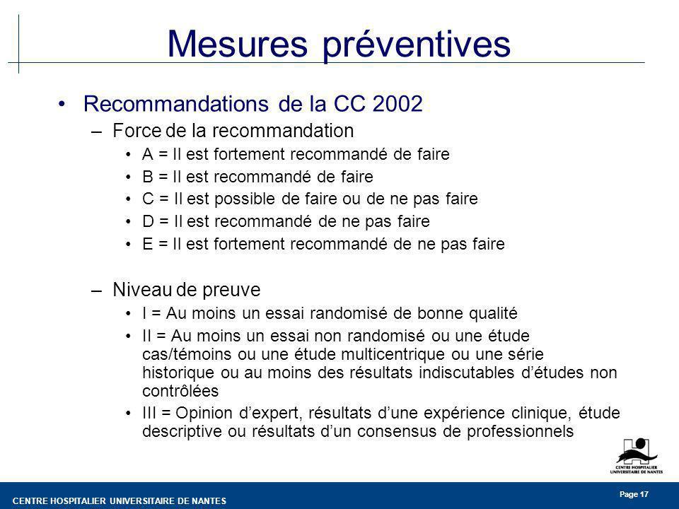 Mesures préventives Recommandations de la CC 2002