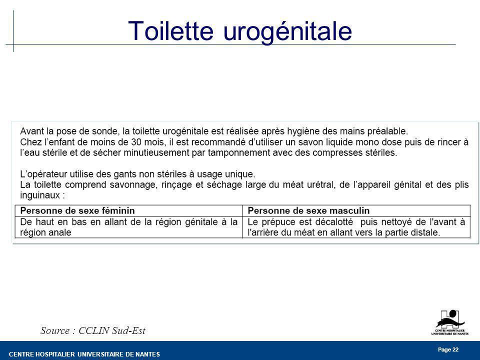 Toilette urogénitale Source : CCLIN Sud-Est