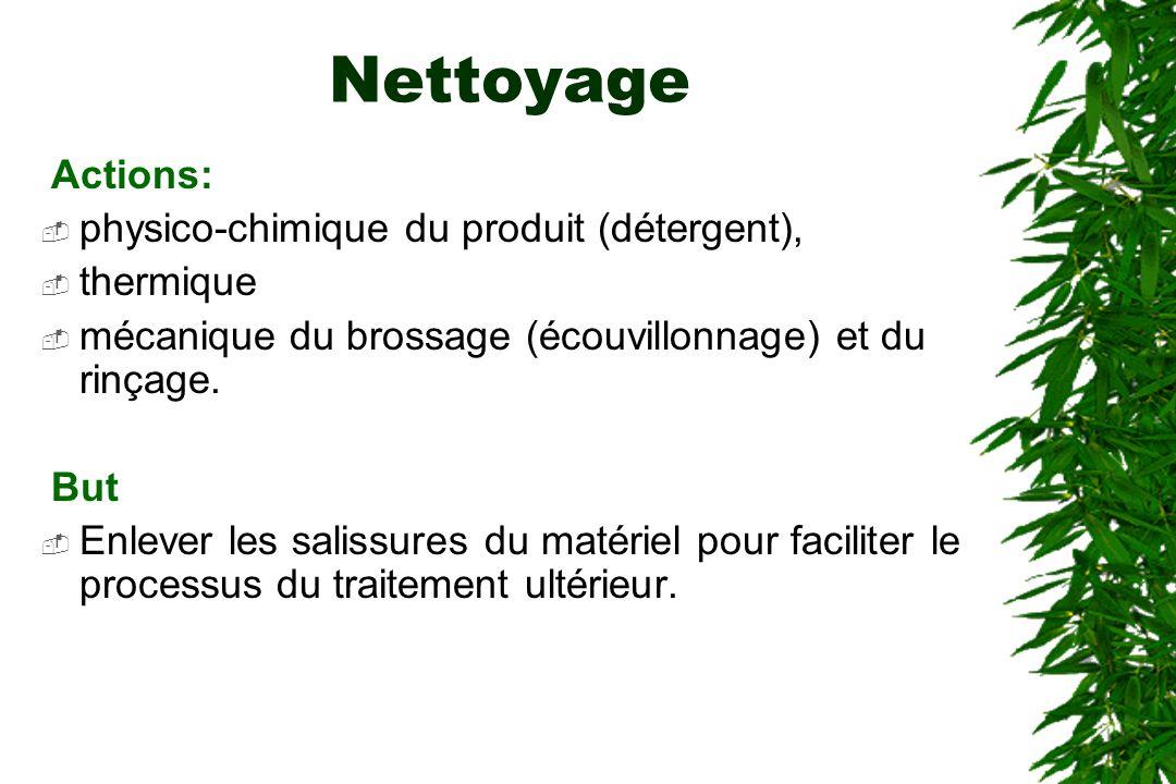 Nettoyage Actions: physico-chimique du produit (détergent), thermique