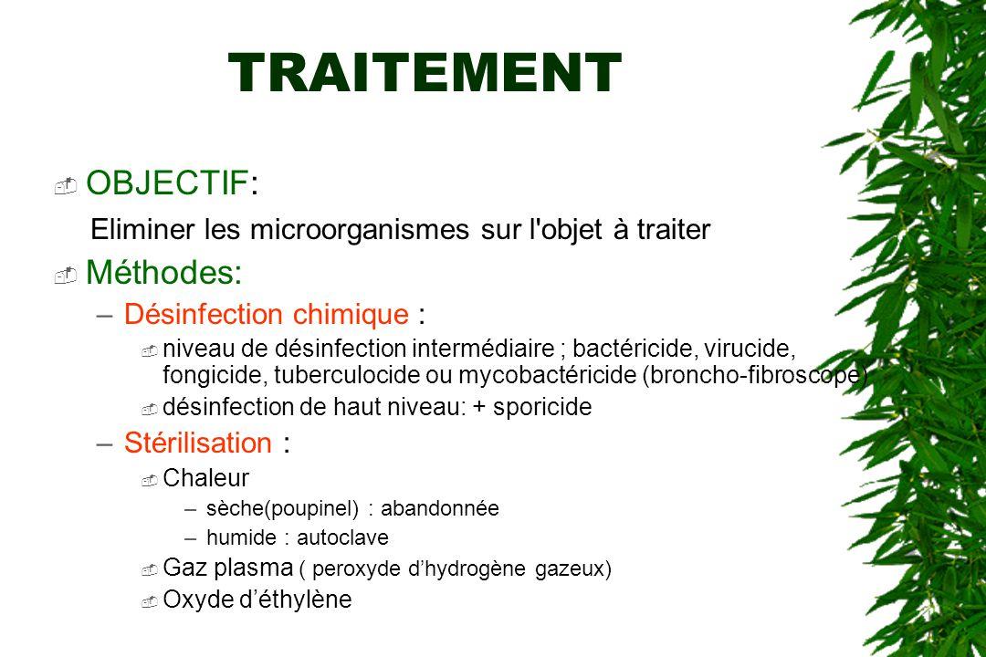 TRAITEMENT OBJECTIF: Eliminer les microorganismes sur l objet à traiter. Méthodes: Désinfection chimique :