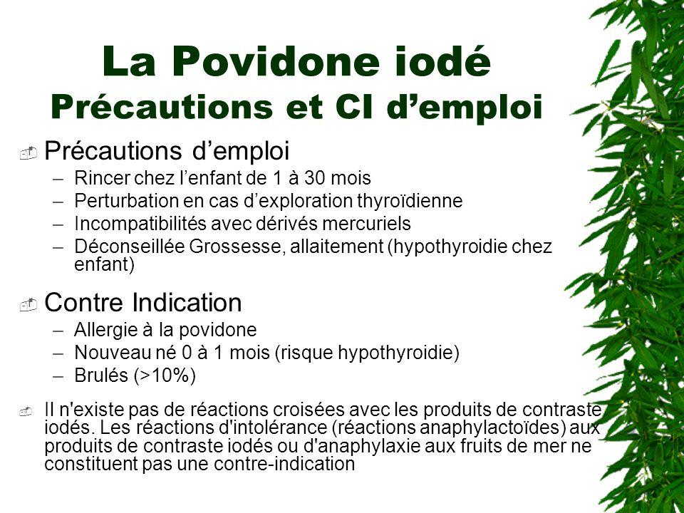 La Povidone iodé Précautions et CI d'emploi