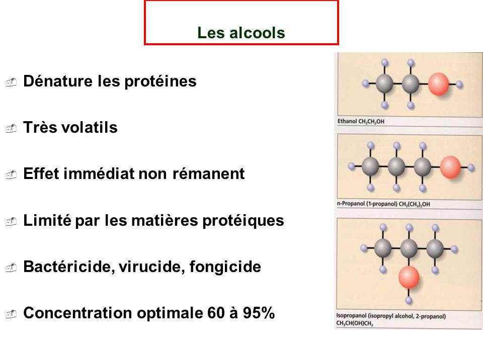 Les alcools Dénature les protéines. Très volatils. Effet immédiat non rémanent. Limité par les matières protéiques.