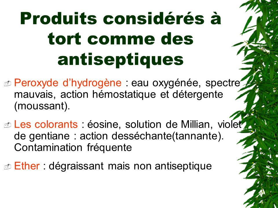 Produits considérés à tort comme des antiseptiques