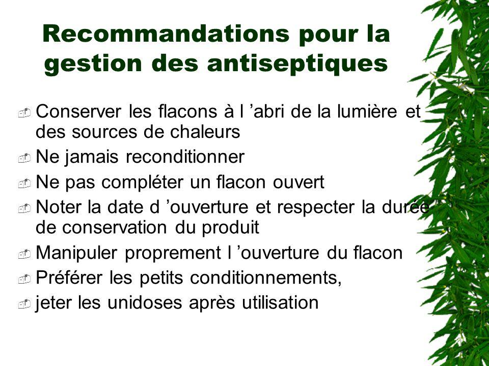 Recommandations pour la gestion des antiseptiques