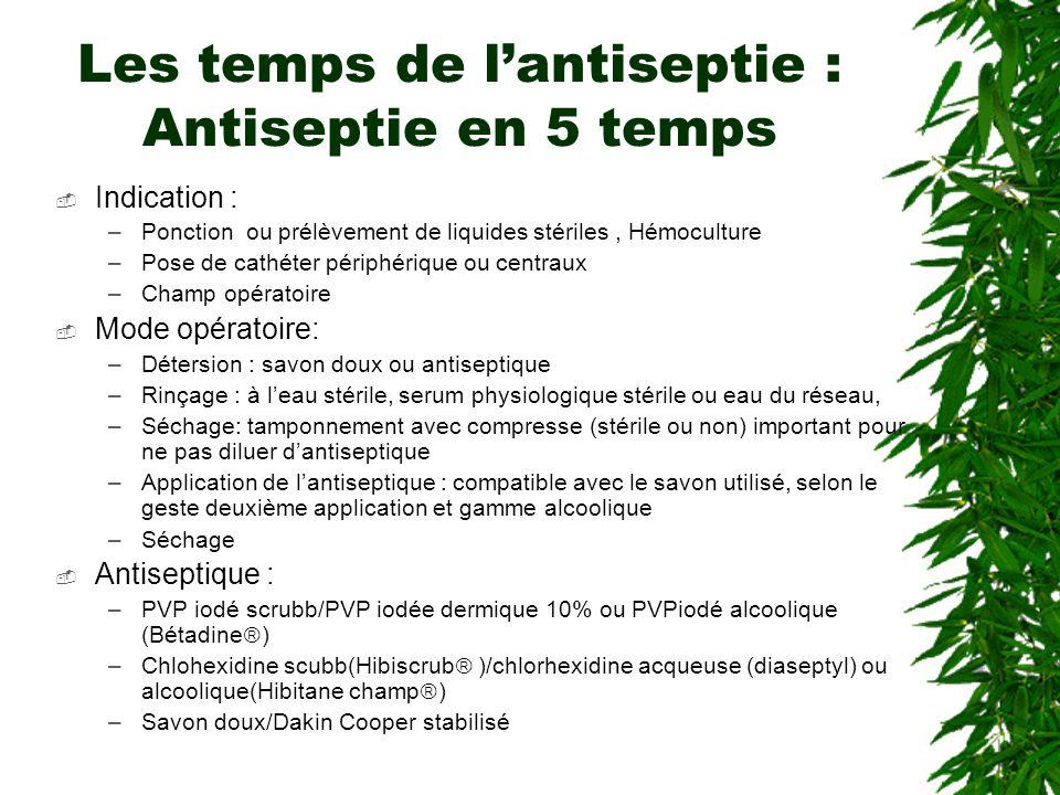 Les temps de l'antiseptie : Antiseptie en 5 temps