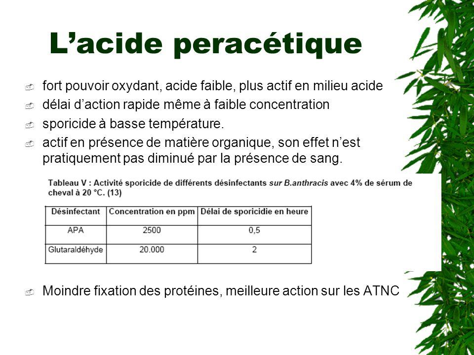 L'acide peracétique fort pouvoir oxydant, acide faible, plus actif en milieu acide. délai d'action rapide même à faible concentration.