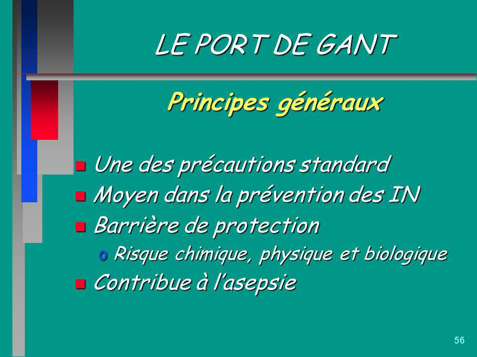 LE PORT DE GANT Principes généraux Une des précautions standard