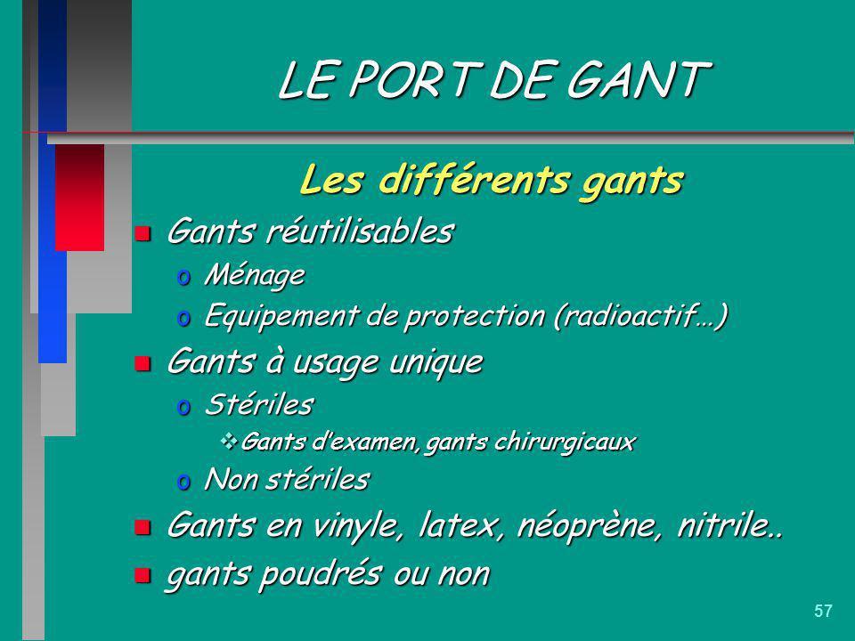 LE PORT DE GANT Les différents gants Gants réutilisables