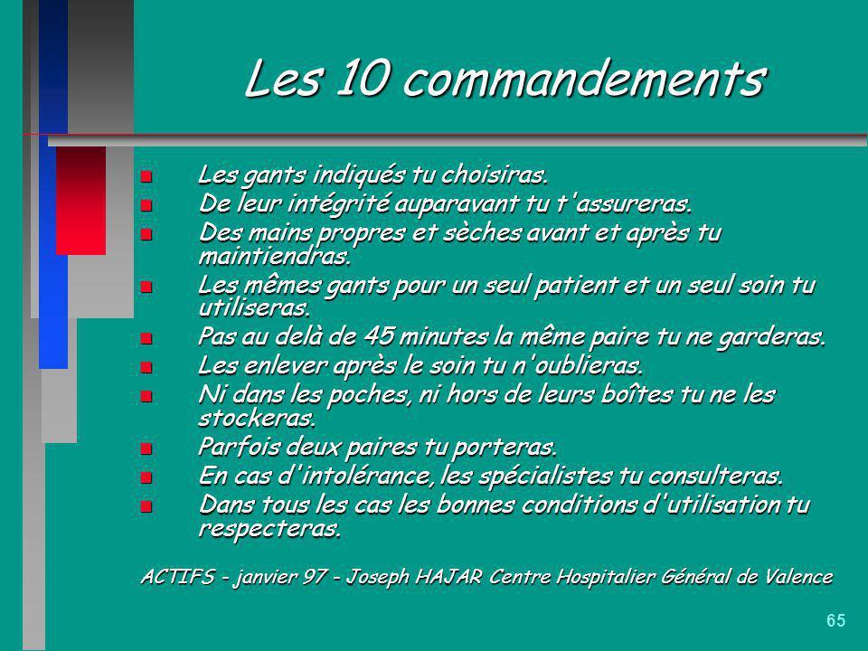 Les 10 commandements Les gants indiqués tu choisiras.