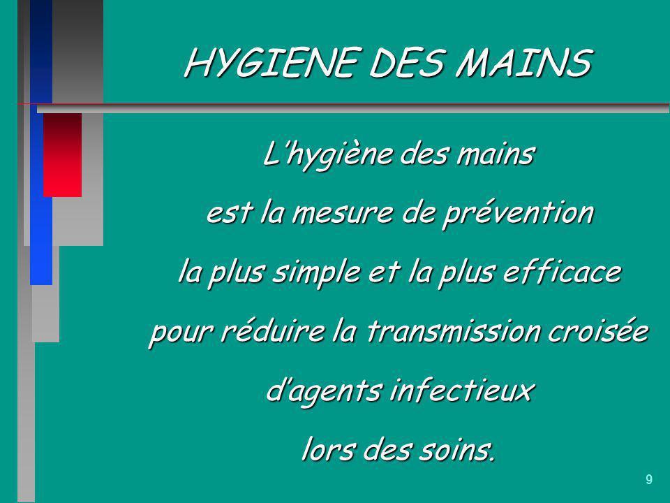 HYGIENE DES MAINS L'hygiène des mains est la mesure de prévention