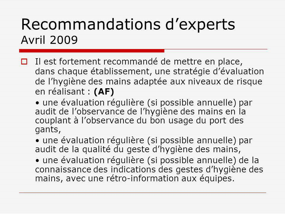 Recommandations d'experts Avril 2009