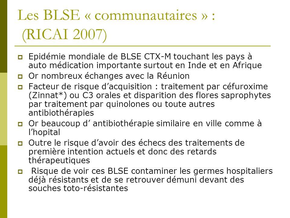 Les BLSE « communautaires » : (RICAI 2007)