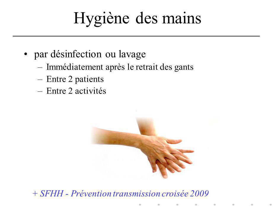 Hygiène des mains par désinfection ou lavage