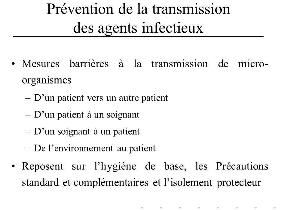 Prévention de la transmission des agents infectieux